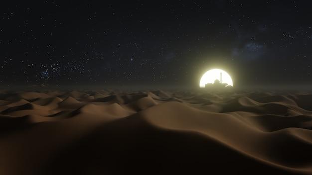 축제 광고를 위한 라마단 배경의 사막 사구 야간