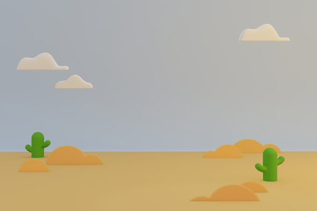 Desert nature cartoon scene, brown landscape and cactus plant with white cloud on the sky in morning sunny day.