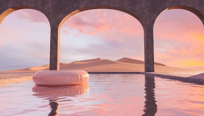 Piscina nel deserto con archi di cemento e galleggia in essa con un tramonto colorato
