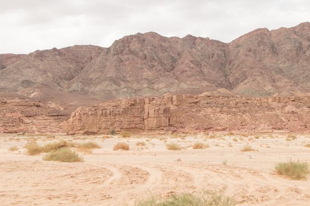 사막, 붉은 산, 바위와 흐린 하늘. 이집트, 협곡.