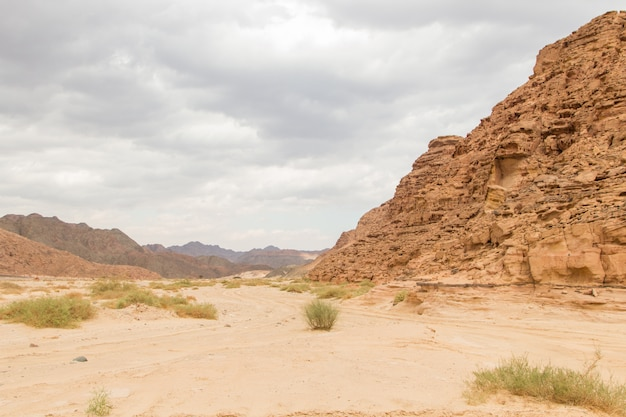 Desert, red mountains, rocks and cloudy sky