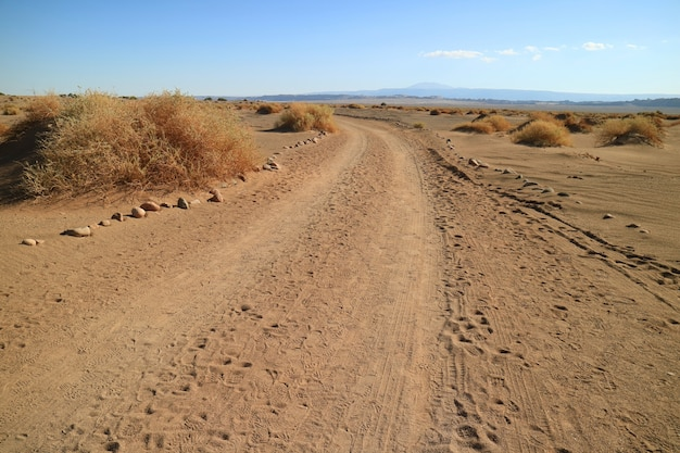 Desert road in the archaeological site of aldea de tulor
