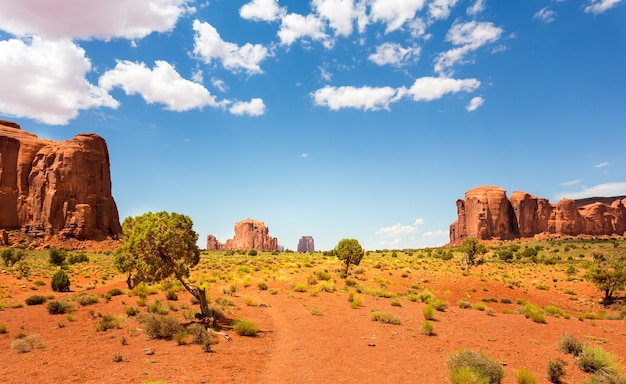 砂漠の谷と砂岩の山々