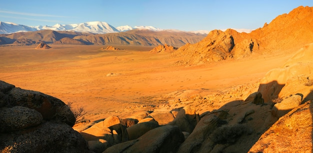 Desert valley in the mountains of mongolia