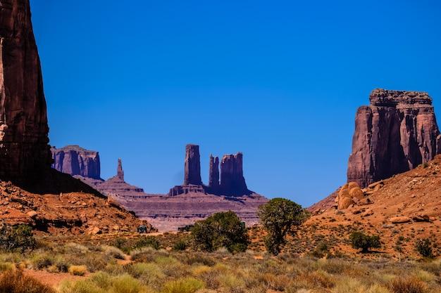 Пустыня с высушенными кустами и деревьями с большими скалами на холмах на расстоянии в солнечный день