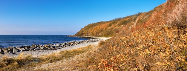 Deserted beach on island hiddensee in northern germany in autumn