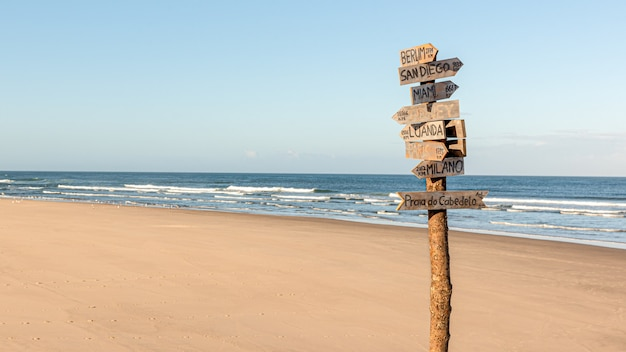 The deserted beach sky sea and sand with country signs