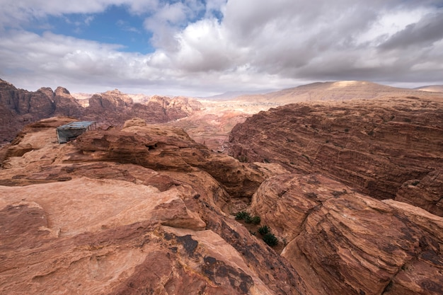 Deserted mountains in jordan in the ancient city of petra