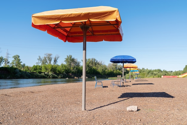 A deserted river beach. the picture was taken on the sakmara river, near the city of orenburg
