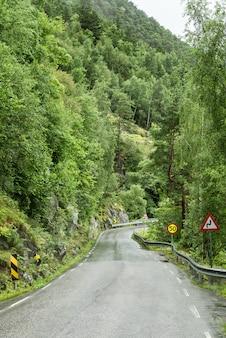 Deserted road among green hills