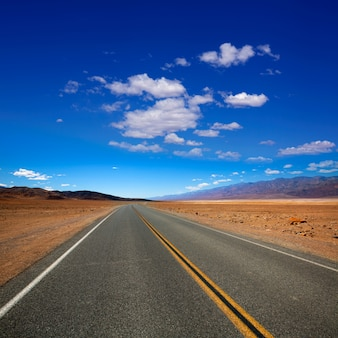 Deserted route highway in death valley california