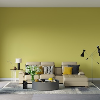 노란색 벽 앞에 소파와 함께 디자인 3d 렌더링 장면