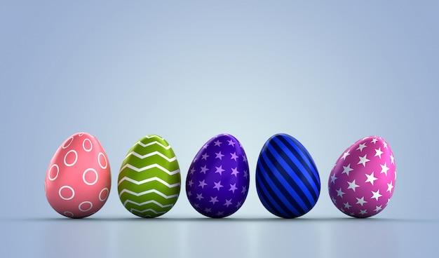 С пасхой. декоративные пасхальные яйца на фоне. пастельные тона design.3d рендеринг