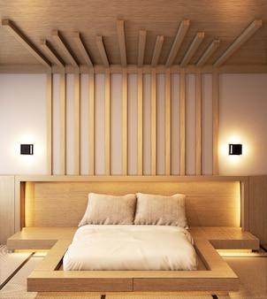 バテンと隠された光壁design.3dレンダリングと木製の寝室デザイン