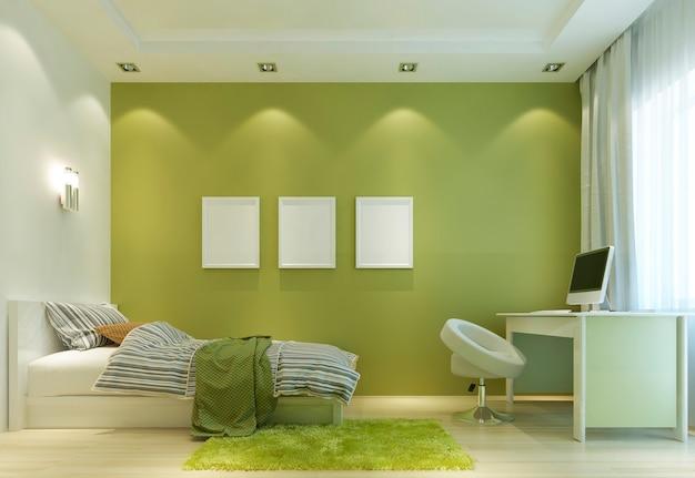 침대와 책상이있는 현대적인 스타일의 어린이 방을 디자인하십시오. 벽은 연한 녹색이고 모든 가구는 흰색입니다. 벽 포스터 모형에. 3d 렌더링.