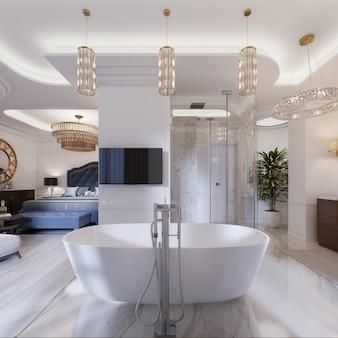 현대적인 스타일의 개방형 침실과 욕실을 갖춘 디자인 아파트입니다. 3d 렌더링.