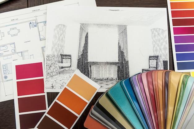 사무실에서 디자인 아키텍처 드로잉 혁신 색상 팔레트 청사진. 주택 건설