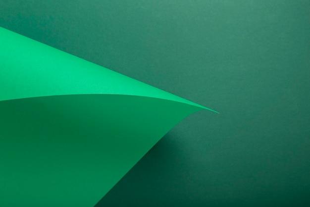 녹색 골 판지에서 디자인 배경 곡선 배경입니다. 평면도, 평면도.