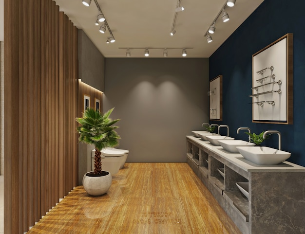 Design of bathroom utilities showroom. 3d rendering