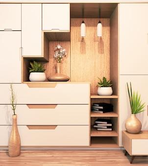 Design cabinet shelf wooden japanese style on empty room minimal .3d rendering
