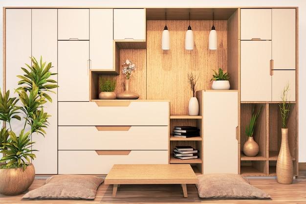 Дизайн полки шкафа деревянный японский стиль на пустой комнате минимальный .3d рендеринг Premium Фотографии