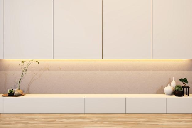 Дизайн полки шкафа деревянный японский стиль на пустой комнате минимальный .3d рендеринг