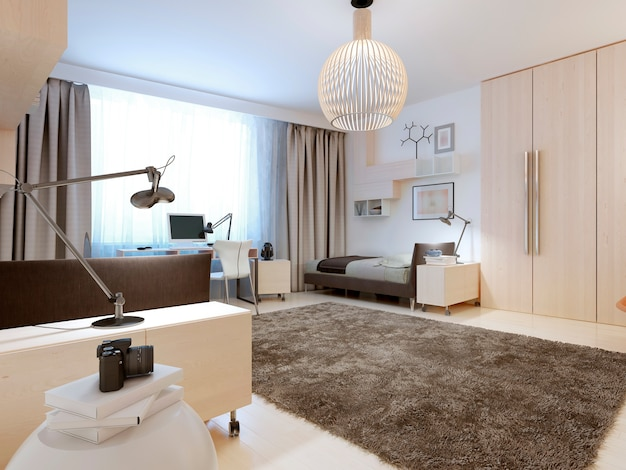 Design of contemporary bedroom of white walls and ceiling and light wood flooring.