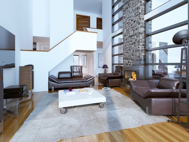 Design of cozy modern living room with high ceiling room interior.