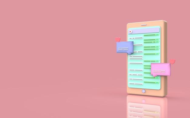 Дизайн милый чат иллюстрация сми социальный смартфон 3d визуализация