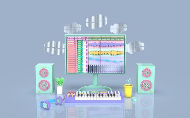 Создайте симпатичный студийный набор для записи музыки с аранжировщиком звукозаписи