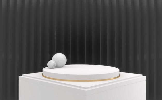 Дизайн темный фон и белый подиум круг дизайн минимальный. 3d визуализация
