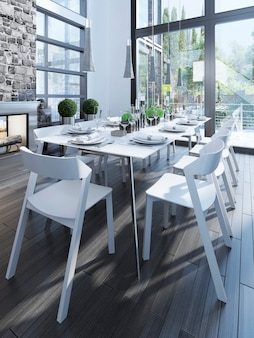 Design of dining room with white furniture.