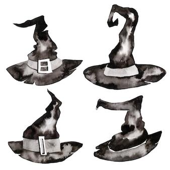 ハロウィーンのデザイン要素。ハロウィーンのシンボル。魔女の帽子。ウィザードの帽子。ハロウィーンの水彩セット