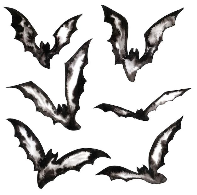 할로윈을위한 디자인 요소입니다. 비행 박쥐의 실루엣 화이트에 할로윈 기호 뱀파이어. 비행 밤 생물 그림. 할로윈의 수채화 세트