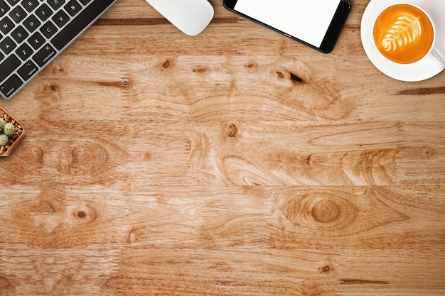 Design flat lay of workspace desk