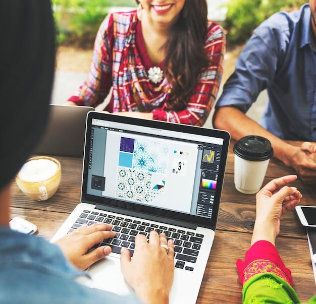 Design laptop friends outdoors concept