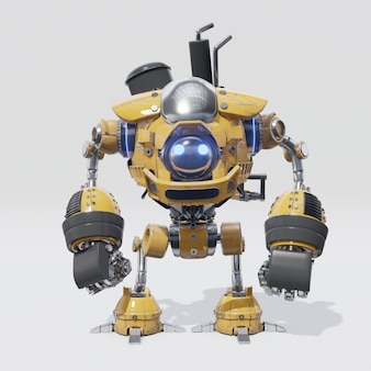 The design of mechanical robot that has a circular yellow body