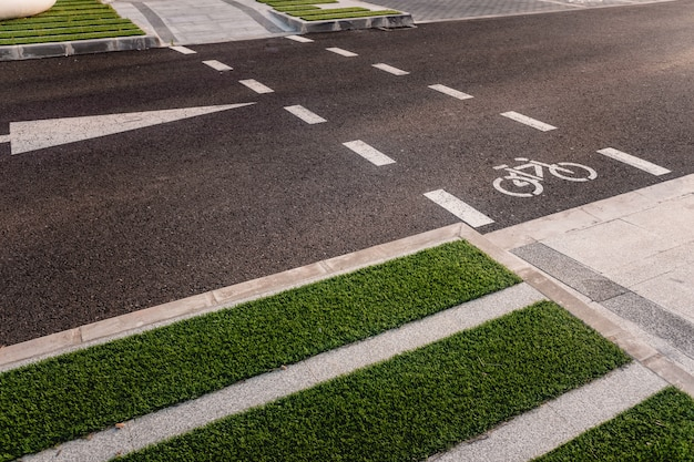 Design of new integrated bike lanes in a pedestrian friendly environment