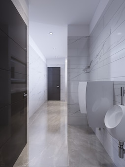 Дизайн общественного туалета из белого и черного мрамора. 3d рендеринг