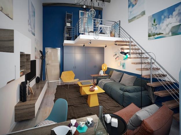 ソファとテレビユニット、2階への階段を備えたロフトスタイルのティーンエイジャーの部屋のデザイン。