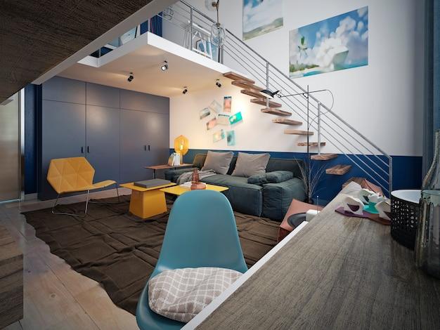 Дизайн подростковой комнаты в стиле лофт с диваном и телевизором и лестницей на второй уровень.