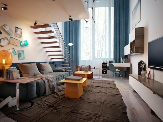 Дизайн подростковой комнаты в стиле лофт с диваном и телевизором и лестницей.