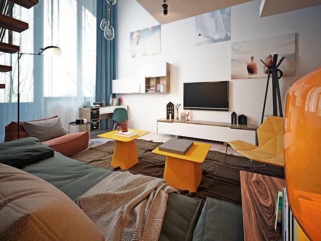 Дизайн подростковой комнаты в стиле лофт с диваном и телевизором.