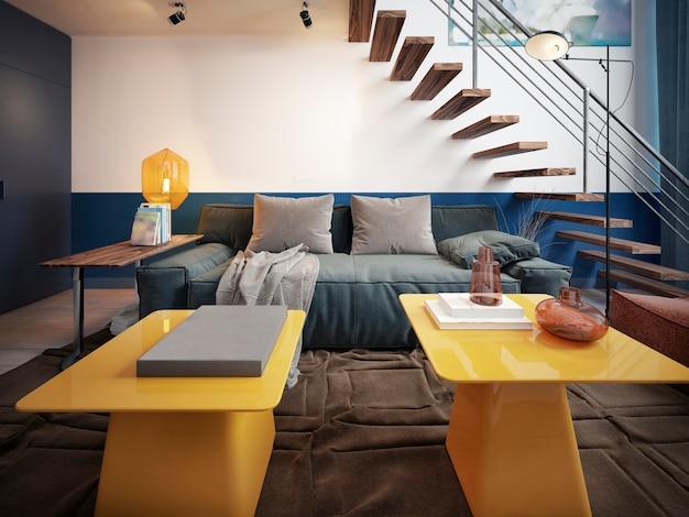Дизайн комнаты подростка с голубым модным диваном и двумя желтыми дизайнерскими столиками.