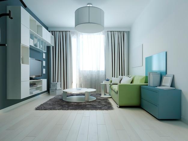 明るい色のリビングルームのキッチスタイルの部屋のデザインは、壁の家具と明るい木で作られた寄木細工の床が白い壁に最適で、ネイビーカラーの壁と対照的です。