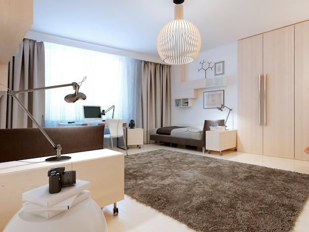 白い壁と天井と明るいフローリングの現代的なベッドルームのデザイン。