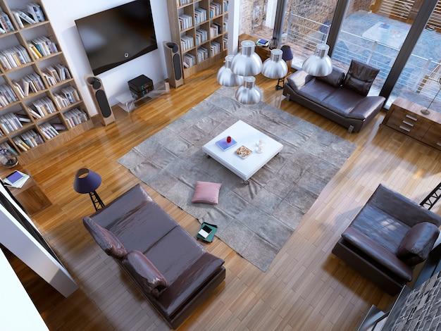Дизайн современной гостиной с домашней библиотекой и белым низким столиком в центре.
