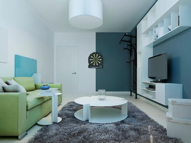 현대 청소년 라운지의 디자인 흰색 가구와 밝은 녹색 소파가있는 실내 공간과 벽은 흰색과 진한 파란색입니다.