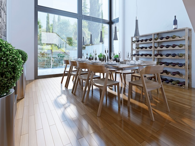천장이 높은 갈색 가구와 탁 트인 창문이있는 식당 디자인은 좋은 전망을 제공합니다.