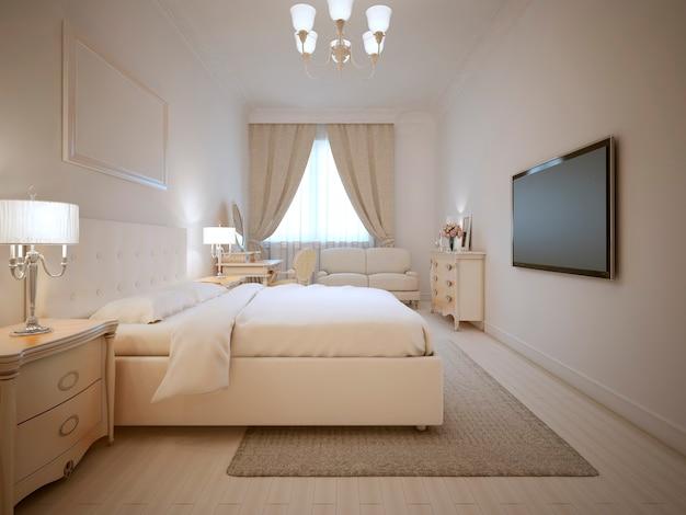 Дизайн спальни в экрю